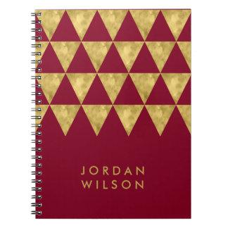 Caderno Espiral Teste padrão elegante do triângulo do ouro do