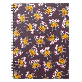 Caderno Espiral teste padrão engraçado da ilustração do estilo dos
