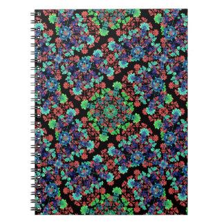 Caderno Espiral Teste padrão floral colorido da colagem