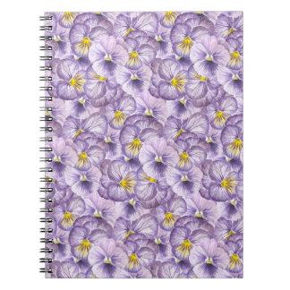 Caderno Espiral Teste padrão floral da aguarela com pansies