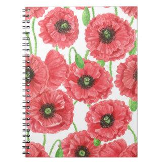 Caderno Espiral Teste padrão floral das papoilas da aguarela