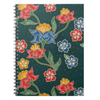Caderno Espiral Teste padrão floral indonésio verde escuro do