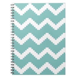 Caderno Espiral Teste padrão geométrico do ziguezague - azul e
