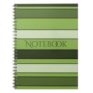 Caderno Espiral Teste padrão horizontal verde das listras das