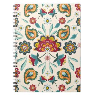 Caderno Espiral Teste padrão indonésio amarelo floral e das