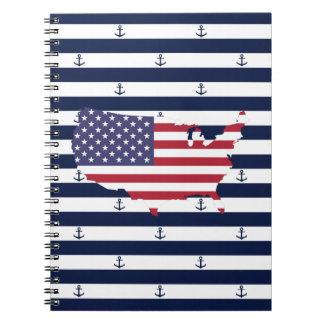 Caderno Espiral Teste padrão náutico americano das listras da