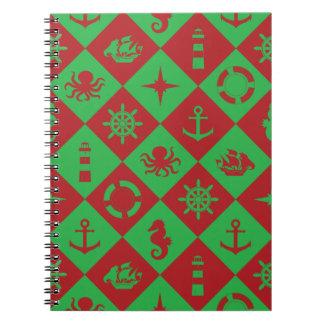 Caderno Espiral Teste padrão náutico do Natal