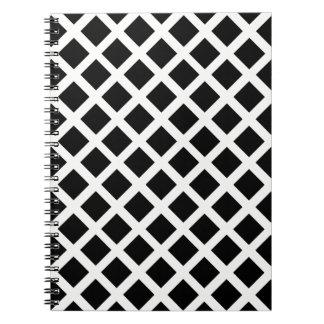 Caderno Espiral Teste padrão preto e branco da ilusão óptica da