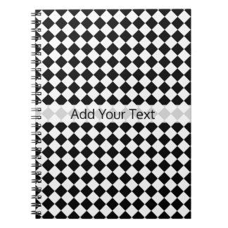 Caderno Espiral Teste padrão preto e branco do diamante por
