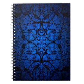 Caderno Espiral Teste padrão rachado azul da parede