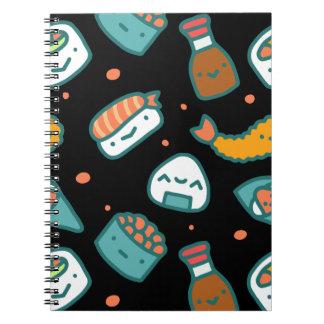 Caderno Espiral Teste padrão sem emenda feliz bonito do sushi no