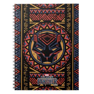 Caderno Espiral Teste padrão tribal da cabeça da pantera da