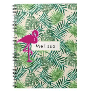 Caderno Espiral Teste padrão tropical das folhas e costume