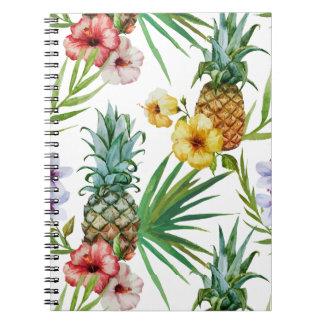 Caderno Espiral Teste padrão tropical do abacaxi da aguarela do