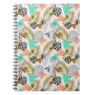 Caderno Espiral Teste padrão tropical geométrico abstrato da folha