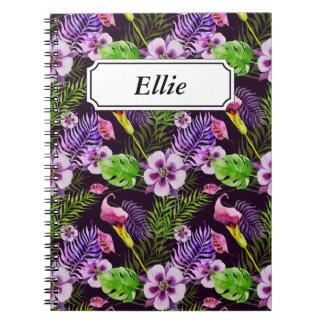 Caderno Espiral Teste padrão tropical roxo preto da aguarela da