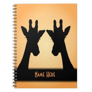 Caderno Espiral Texto longo do costume do girafa das pestanas