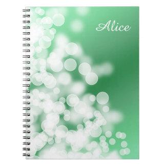 Caderno Espiral textura do verde do estilo do bokeh