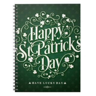 Caderno Espiral Tipografia feliz verde do ornamento do dia de