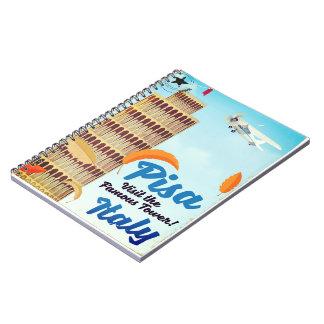 Caderno Espiral Torre inclinada da cópia das férias do vintage de