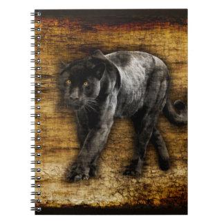 Caderno Espiral Trabalhos de arte de desengaço da pantera preta
