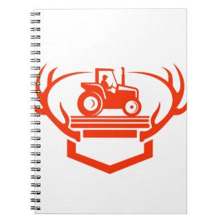 Caderno Espiral Trator do Antler dos cervos da cauda branca retro