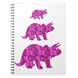 Caderno Espiral Triceratops cor-de-rosa brilhante do dinossauro
