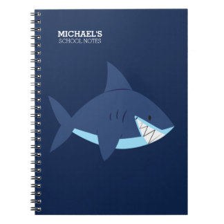 Caderno Espiral Tubarão azul de sorriso