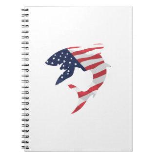 Caderno Espiral Tubarão da bandeira americana