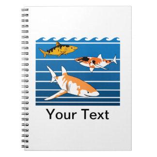 Caderno Espiral Tubarões de Koi