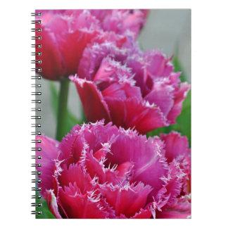 Caderno Espiral Tulipas cor-de-rosa do papagaio