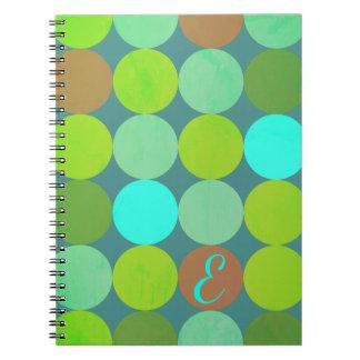 Caderno Espiral Turquesa da cerceta do verde limão & monograma dos
