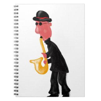 Caderno Espiral Um homem que joga o saxofone