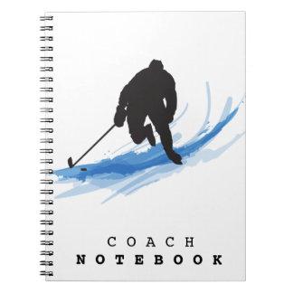 Caderno Espiral Um jogador de hóquei no gelo