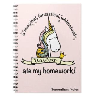 Caderno Espiral Um unicórnio comeu meus trabalhos de casa