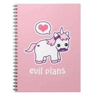 Caderno Espiral Unicórnio cor-de-rosa do bigode