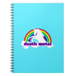 Caderno Espiral Unicórnio e arco-íris engraçados do metal da morte