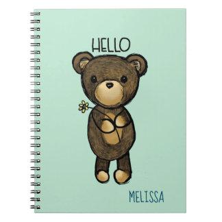 Caderno Espiral Urso de Brown bonito com flor amarela olá!