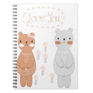 Caderno Espiral Urso de ursinho bonito do casal dos namorados dos