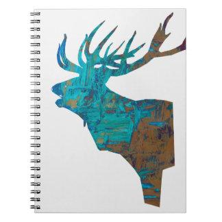 Caderno Espiral veado principal dos cervos nos turquois