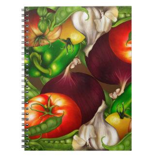 Caderno Espiral Vegetais e alimentos frescos naturais orgânicos