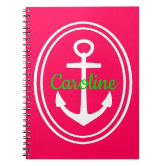 Caderno Espiral Verão brilhante cor-de-rosa e âncora verde