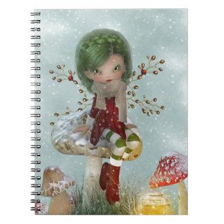 Caderno Espiral verde do inverno