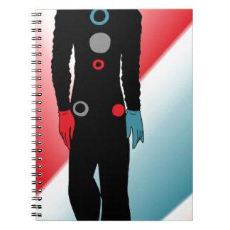 Caderno Espiral Vermelho e um equipamento azul