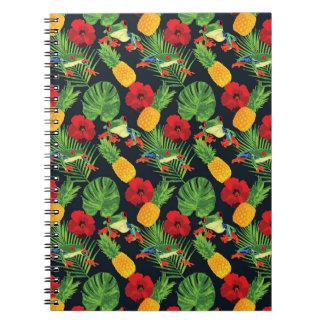 Caderno Espiral Vermelho tropical o sapo de árvore Eyed