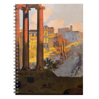 Caderno Espiral Viagens vintage Roma Italia 1920