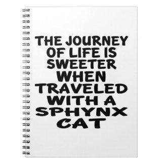 Caderno Espiral Viajado com gato de Sphynx
