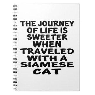 Caderno Espiral Viajado com gato Siamese