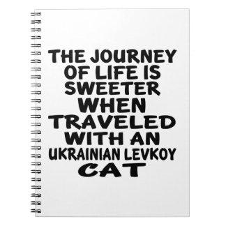Caderno Espiral Viajado com o gato de Levkoy do ucraniano