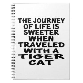 Caderno Espiral Viajado com o gato do gato de tigre
